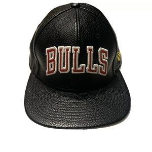 Chicago Bulls New Era Snapback Hat Black Leather